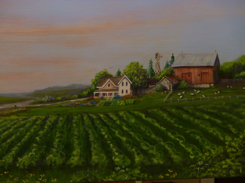 Sunset on the Farm by Michigan fine artist Ellen Leigh